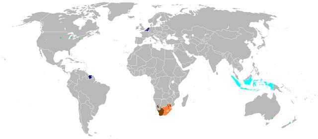 Places where Dutch is spoken via Wikimedia
