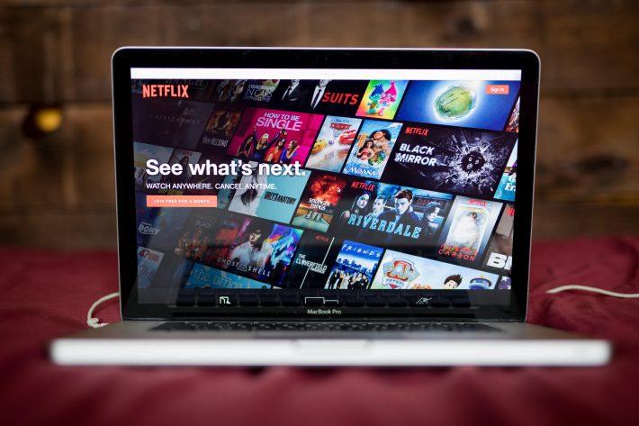 computer screen showing Netflix's homepage -