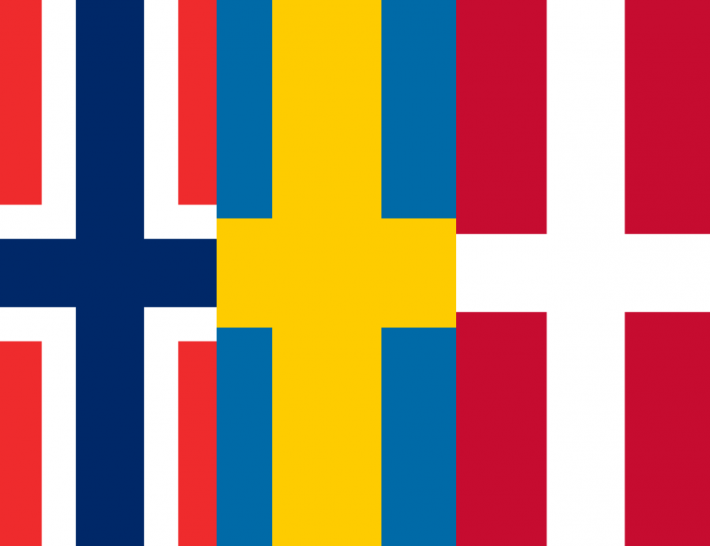 Nordic flags side by side - Scandinavian languages