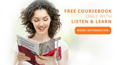 <strong>FREE COURSEBOOK</strong> <br/> ONLY WITH <br/> <strong>LISTEN &amp; LEARN</strong>